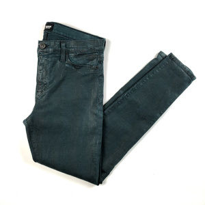 Hudson Nico Super Skinny Midrise Jeans Teal Plaid